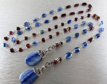 25% Off Summer Sale Kyanite And Garnet With Sterling Silver Lariat Necklace