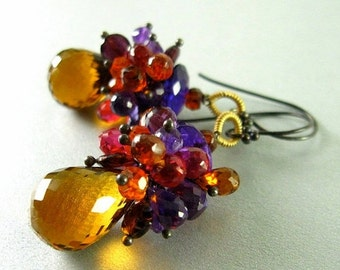 20 % Off Madeira Citrine, Amethyst, Garnet and Quartz Wire Wrapped Earrings