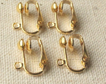 Gold clip adapters or Silver Clip on earring findings Gold plated Clip-ons non pierced ears clip adapter Earring Clip change pierced to clip