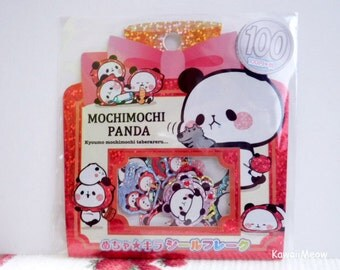 Kamio Japan Sticker Flakes - Mochimochi Panda - 50 Pieces (46390)