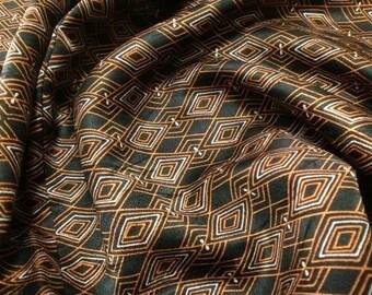 Silk Kimono - Japanese Silk Kimono Black Orange White - Edo Komon