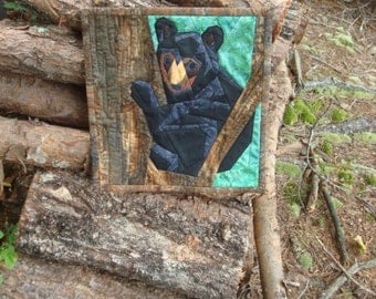Bear Cub in a Tree Quilted Wallhanging