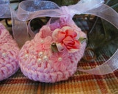 Crochet Flowers and Pearls Fancy Cotton Pink Sparkle Ballet Slippers Baby Girl 0-6 months
