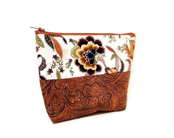 Boho Pouch, Paisley Pouch, Zipper Pouch, Fabric Pouch, Medium Pouch, Cosmetic Bag, Coin Purse, Pouch, Floral Paisley in Gold and Brown