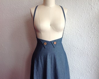 Katrina Cotton chambray suspender skirt Sz 10