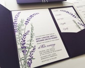 Lavender Wedding Invitation with Purple Pocketfold Rosemary Herb Wedding Invitations Wedding Printable Invitation Bridal Shower Invitations