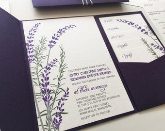 Lavender Wedding Invitation with Purple Pocketfold Rosemary Herb Wedding Invitations Wedding Printable Invitation Bridal Shower Invitations