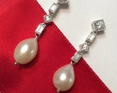 Art Deco Style Wedding Jewelry Ivory Pearl Earrings Long Silver CZ Bridal Earrings Long Dangle Earrings Freshwater Teardrop Pearl