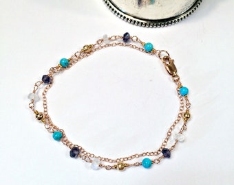 Turquoise Iolite Rose Gold Bracelet Wire Wrap Moonstone Jewelry Rose Gold Jewelry Chain Wire Wrap Rose Gold Layering Bracelet