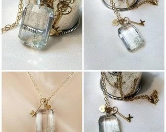50% OFF SALE Phantom Quartz Pendant Necklace 9kt Gold Key Sterling Vermeil Heart Gold Filled Layering Necklace Clear Crystal Quartz Necklace