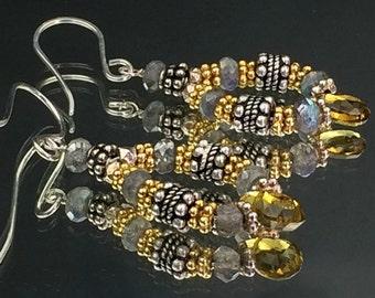 Labradorite Earrings Petrol Tourmaline, Gold Vermeil Sterling Silver Mixed Metal Petite Hoop Earrings Minimalist Jewelry Urban Chic