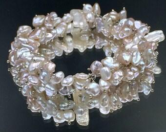 Blush Keishi Pearl Bracelet Wire Wrap Stick Pearl Bracelet Wedding Pearl Cluster Bracelet Sterling Silver Beach Wedding