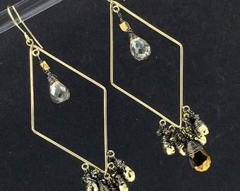40% SALE Gold Hoop Chandelier Earring Luxury Gemstone Bohemian Hoop Earring Pyrite Mystic Spinel Wire Wrap Statement Diamond Shape Boho