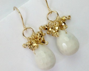 VALENTINES SALE White Earrings Gemstone Quartz Agate Wire Wrap Cluster Gold or Silver Pyrite Simple Everyday Minimalist Jewelry Gold Fill or