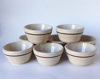 Vintage Restaurant Ware Wallace China Dessert/Custard Cups, California Pottery/Ceramic, Set of Eight Tan/Brown Stripe Mid Century