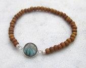 Labradorite sandalwood bracelet, modern stacking gemstone bracelet, sandalwood beaded bracelet, elastic gemstone bracelet, yoga jewelry