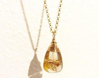 Golden rutile quartz briolette necklace, gold filled wire wrapped quartz pendant necklace, gold stone necklace, chic minimalist jewelry