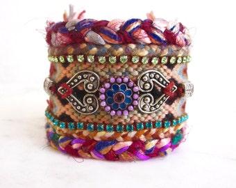 Crystal friendship bracelet cuff, Swarovski braided cuff, rhinestone ethnic bracelet, bohemian boho chic bracelet, hippie cuff, tribal, OOAK