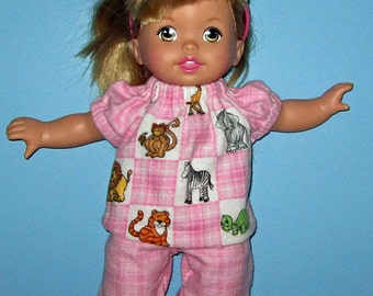 Little Mommy, Dress Up Cuties ,Doll Clothe, Pink Zoo Aninimals Pajamas ,13 14  inch Doll Clothes,