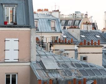 Paris Photography, Montmartre Parisian Rooftops, soft blue and grey tones, Paris, France, French Wall Decor, love from the rooftops