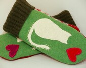RESERVED FOR KATYA Cat Mittens from Felted Sweater Bright Geen Red and White Cat Applique Leather Palm Fleece Lining Eco Friendly Size S/M