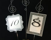 Music note table markers wire stand  photo and menu holder centerpiece floral picks