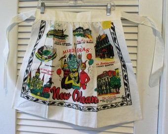 New Orleans Mardi Gras Vintage Apron - New with Original Tag