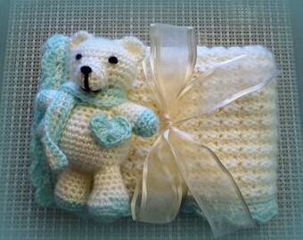 Baby Blanket Gift set, Carseat Blanket, Afghan, Crocheted blanket, Baby Blanket with matching Teddy Bear