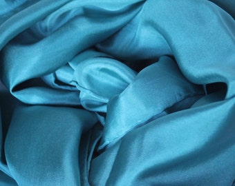 Kingfisher Blue Habotai Silk Scarf -  4 Sizes Available - Priced by Size - Low Shipping