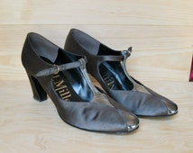 Vintage 60s I.Miller Mary Jane Metallic Heels, Pumps, Gray and Silver Fabric Shoes