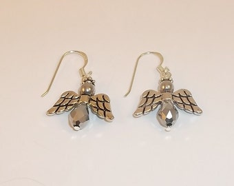 Silver Crystal and Silver Angel Earrings -1398