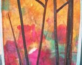 Original art fiber textile Forest fire
