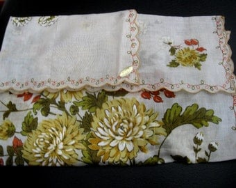 Large Unused Vintage Hanky With Yellow Floral and Red Berry Design,Paper Label Still Attached
