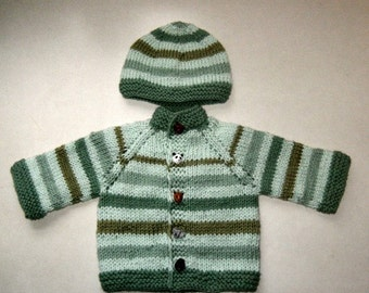 Green stripes baby sweater and hat set