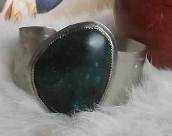 Stamped Southwest Silver and Turquoise Cuff Bracelet