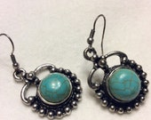 Vintage turquoise cabochon silver frame drop dangle pierced earrings.