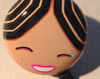 Big cute smiley girl hand painted bicycle bell - one of a kind Art for Your Bike!