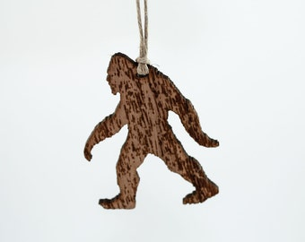 Sasquatch Christmas Ornament - Laser Cut Walnut Wood Featuring Bigfoot