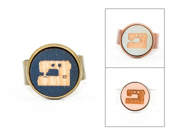 Sewing Machine Ring - Laser Cut - Engraved Wood in Adjustable Setting (Choose Your Color / Made To Order)