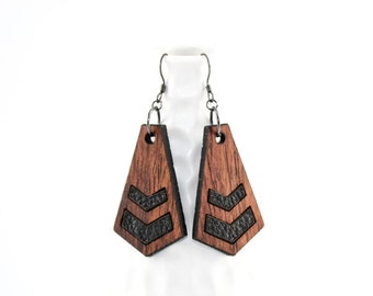 Laser Cut Wood Dangle Earrings - Modern Chevron Design with Leather Inset - Gifts for Her