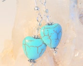 Turquoise Earrings, Heart Jewelry, Dangle Earrings, Sterling Silver Jewelry, Handcrafted Jewelry, Native Style, Rustic Jewelry, Gift for Her