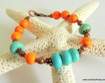 Turquoise Bracelet, Turquoise and Orange, Copper Jewelry, Western Style, Handcrafted Jewelry, Gemstone Jewelry, Fall Jewelry