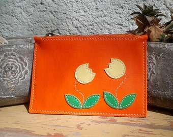 Leather Wallet With Cute Yellow Tulips Aplique - Small Orange Leather Wallet - Leather Coin Purse