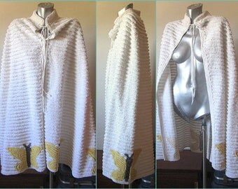 Vintage 30s Chenille White with Yellow Butterfies Cape / Beach Cover Up