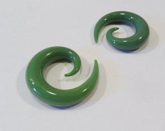 Glass spiral 0g jade green glass size 0 gauge