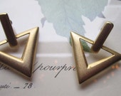 Vintage Earrings * 1980's Retro Modern Gold Brush Earrings * Modern Deco *