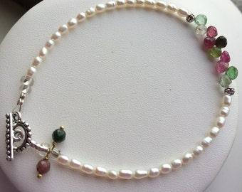 Bracelet — Watermelon Tourmaline Briolettes, Freshwater Pearls, Tourmaline Charms