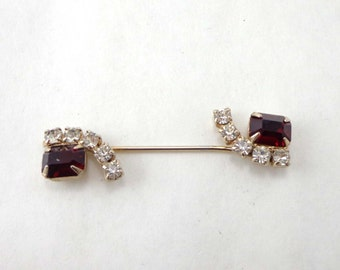 Rhinestone Brooch Art Deco Stick Pin Vintage Red Two Piece Bar Screw In 740