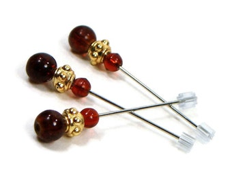 Counting Pins Marking Pins Brown Gold Cross Stitch Needlepoint Hardanger