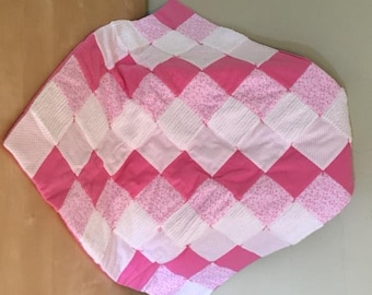 Flannel and chenille quilt/pink stars